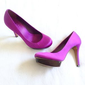 Tory Burch Purple Satin Platform Pump Heels